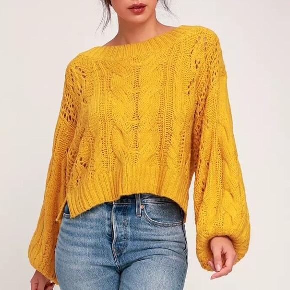Mustard Seed Chunky Puff Sleeve Cropped Sweater
